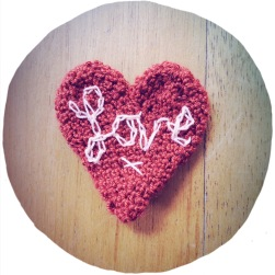 heart brooch with LOVE