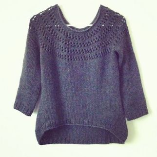 blue eyelet sweater