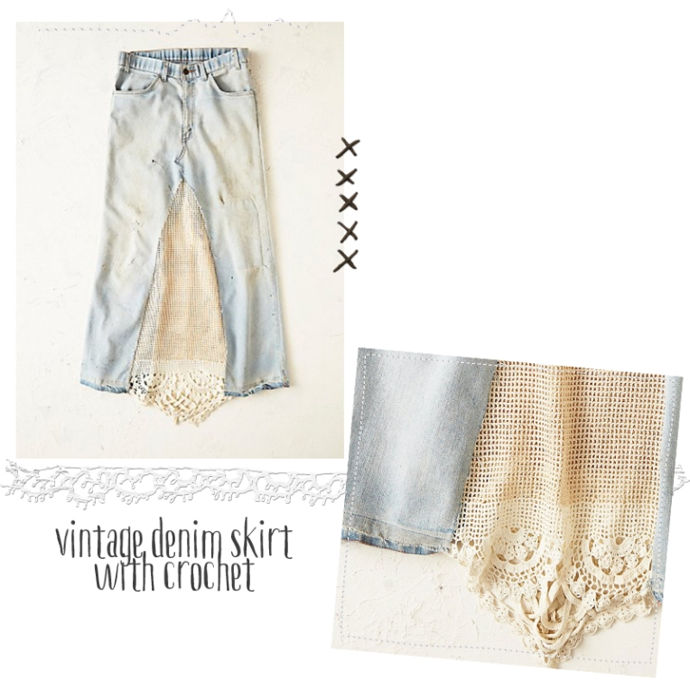 vintage denim skirt with crochet