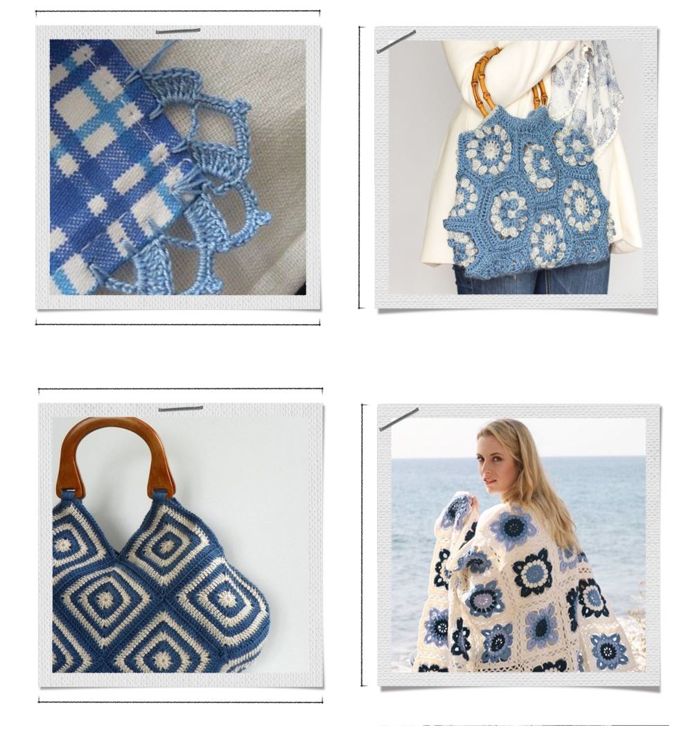 blue and white crochet